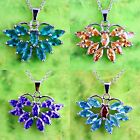 Eternity Amethyst Morganite Blue & Green Topaz Gemstone Silver Pendant Necklace