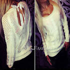Sexy Women Ladies Backless Long Sleeve Hollow Sweater Pullover Jumper Top Blouse