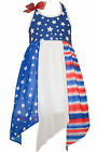 Bonnie Jean 4th July Red White Blue Flag Patriotic American Girls Dress 4 5 6 6X