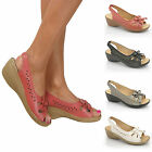 Ladies Wide Fit Casual Slip On Slingback Peep Toe Wedge Low Heel Summer Sandals