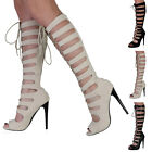 NEW LADIES CUT OUT PEEP TOE WOMENS LACE UP STRAPPY HEEL KNEE HIGH SHOES SIZE 3-8