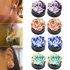 1Pair Rose Flower Acrylic Double Saddle Ear Plugs Gauges Tunnel Expander 8-25mm
