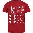 Zombies Festive Blocks Ugly Christmas Sweater Red Adult T-Shirt
