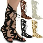 WOMENS LADIES KNEE HIGH GLADIATOR LACE UP SANDALS FLAT STRAPPY CUT OUT SIZE
