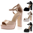 NEW LADIES CUT OUT BLOCK HEEL WOMENS ANKLE BUCKLE STRAP PLATFORM SHOES SIZE 3-8