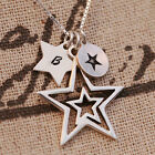 Personalised 925 Sterling Silver Pendant Necklace With 4 Wishing Star Lucky Gift