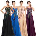Long PEACOCK Chiffon Evening Ball Gown Party Prom Formal Cocktail Wedding Dress