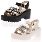 LADIES PARTY STRAPPY WOMENS BEJEWELED PLATFORM CLEATED HEEL SANDALS SIZE 3-8