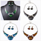 Fashion Women Charm Enamel Golden Bib Collar Necklace Stud Earrings Set Jewelry