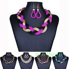 Fashion Colorful Multiple Mesh Twisted Rope Bib Collar Necklace Earrings Set new