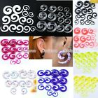 Pick Colorful Punk Acrylic Spiral Taper Ear Plugs Gauge Expander Stretcher Pair
