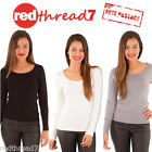 Womens Long Sleeve Knit Ribbed Wool Blend Stretch Work Top Tee Black Grey White