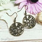 ER2716 Graceful Garden Vintage Style Round Filigree Tree of Life Charm Earrings