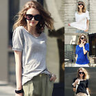 4 Colors HOT Women Loose T-shirt Cotton Short Sleeve Casual Tops Blouse All Size