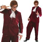 Mens Red 1960s Austin Powers Spy Gigolo 60s Suit Fancy Dress Costume Outfit