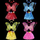 Girl Birthday Beach Party Costume Butterfly Wing Wand Headband Hawaii Hula Set