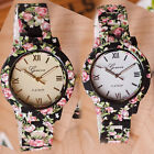 Black Printing Watch Rose Flower Edge 2 Background Color Alloy Fashion Accessory