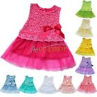 Toddler Baby Kids Girl Princess Pageant Party Tutu Lace Bow Flower Dress Clothes