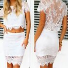 Sexy Womens Lace Floral Bodycon Tops+ Skirt 2PCS Set Mini Dress Clubwear Party