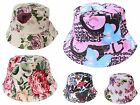 Girls Women Summer Beach Floral Flower Bucket Hat Cream White Pink Purple Rose