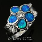Plumeria 4mm Round Moissanite Blue Fire Opal Silver Jewelry Ring Size 6 7 8 9