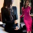 Low Cut Open Back Ruched Cinched Waist Women's Formal Party Pencil Bodycon Dress