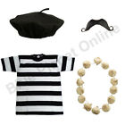 MENS FRENCH FRENCHMAN BERET T SHIRT GARLAND MOUSTACHE FANCY DRESS