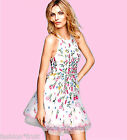 H&M Trend Embroidered Organza White Floral Tulle Summer Party Dress UK8 10 12 14