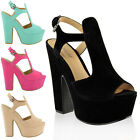 LADIES WOMENS PLATFORM HIGH HEELS CUT OUT SUMMER SANDALS WEDGES SHOES SIZE