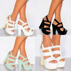 STRAPPY SANDALS PLATFORMS WEDGED PEEP TOES SUMMER SHOES CHUNKY HIGH HEEELS SIZE