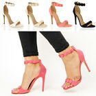 Womens ladies high stiletto heel bead button trim strap prom party work shoes