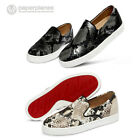 New PP1372 Snake Skin Leather Women Slip on Sneakers Flat Shoes Loafer Fashion
