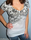 New Sexy METAL MULISHA Maidens Black SUBLIMATED LACE Deep V Top T-Shirt S M L XL