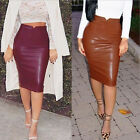 Celeb Womens Faux Leather Evening Party Bodycon Pencil Wiggle Skirt Midi Dress