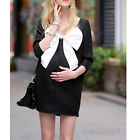Summer Maternity Bow Casual Dress Pregnant woman Both sides can wear Dress Black