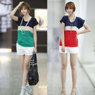 New Women Casual Chiffon Colors Collision Loose Short Sleeve Tops Blouse T-Shirt