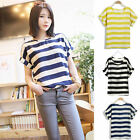 Women Chiffon Casual Striped Blouse Sheer Batwing Short Sleeve Loose T Shirt Top