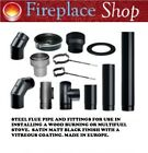 "5"" 6"" Matt Black Steel Chimney Flue Pipe For Wood Log Burning Multifuel Stove"