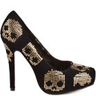 Ladies Iron Fist Gold Star Platform Shoes High Heels Black/Gold Skull Sequin