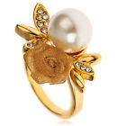 ARINNA pearl filigree rose Austrian Crystal Fashion cocktail Finger Ring
