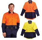 MENS LONG SLEEVE SAFETY SHIRT HIGH VISIBILITY HI VIS WORK WEAR COTTON TWILL COOL