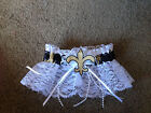 New Orleans Saints College Football Bridal Garter White trim Regular / Plus size