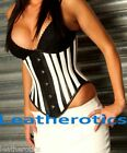 Steel Boned underbust Leather waist corset belt cinched top 1302
