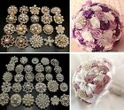 12PX Big pretty Crystal Pearl Brooches Wedding Mix Designs Bridal Bouquet