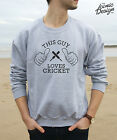 * This Guy Loves Cricket Jumper Sweater Top Gift Watching Playing Sport *