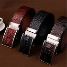 Men's Luxury Formal Crocodile Embossed Real Leather Automatic Buckle Waist Belt
