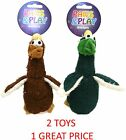 PAWS & PLAY QUACKERS SOFT STUFFED PLUSH 20CM SMALL DOG PUPPY TOY 2 PACK 60404