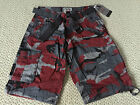 NWT Men's Abalanche Red Gray Camouflage Camo Belted Cargo Shorts ALL SIZE