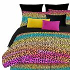 Girls Rainbow Leopard Comforter Set Wild Animal Multi Safari Bed Teens Bedding