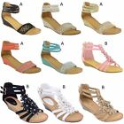 LADIES WOMENS LOW HEEL WEDGE SUMMER SANDALS ANKLE STRAPPY DIAMANTE SHOES SIZE